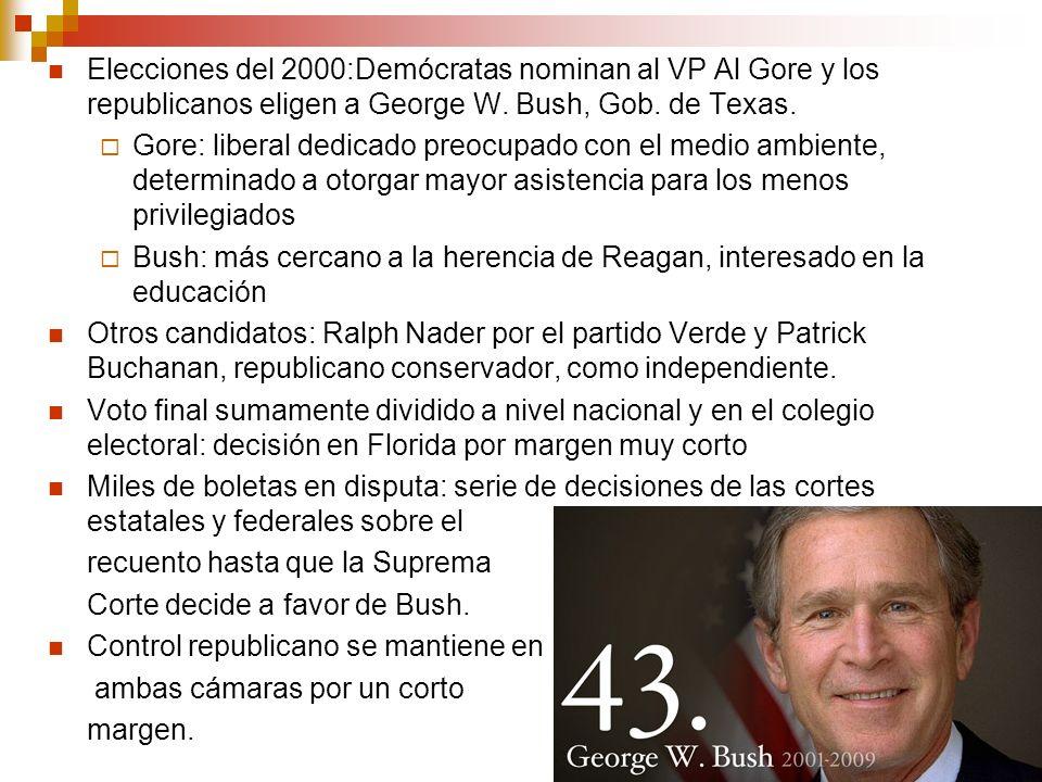 Elecciones del 2000:Demócratas nominan al VP Al Gore y los republicanos eligen a George W. Bush, Gob. de Texas.