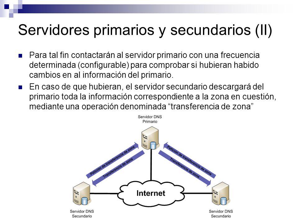 Servidores primarios y secundarios (II)