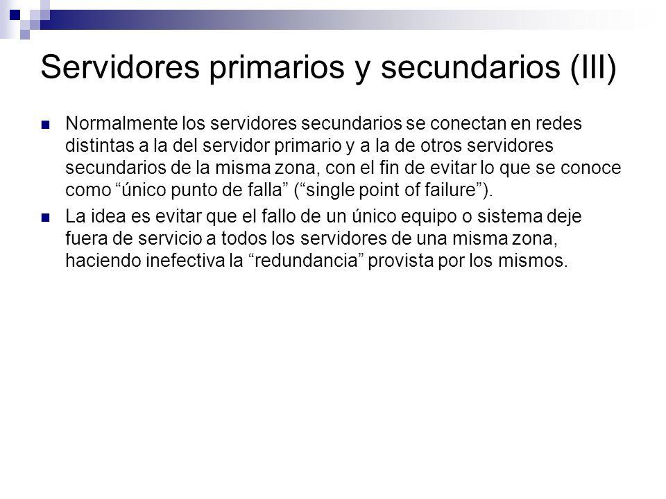 Servidores primarios y secundarios (III)