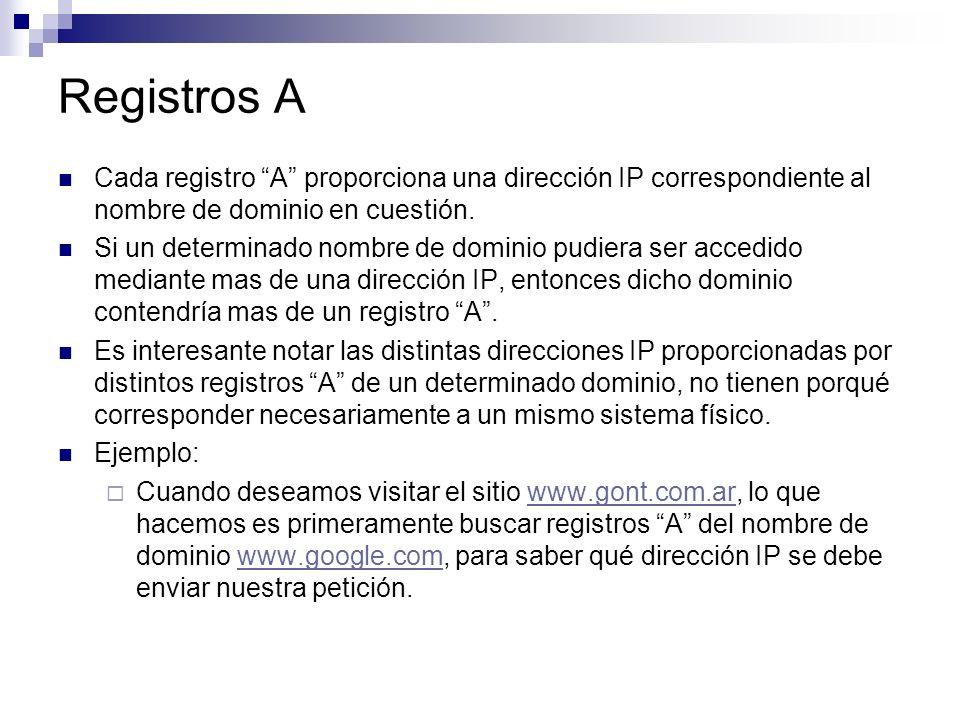 Registros A Cada registro A proporciona una dirección IP correspondiente al nombre de dominio en cuestión.