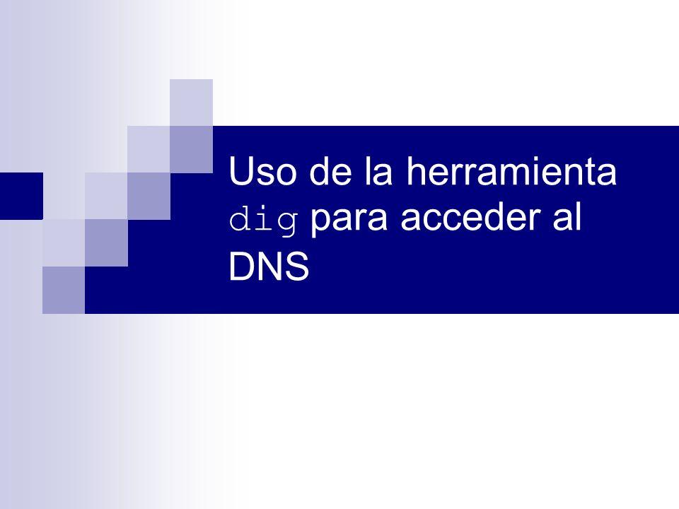 Uso de la herramienta dig para acceder al DNS