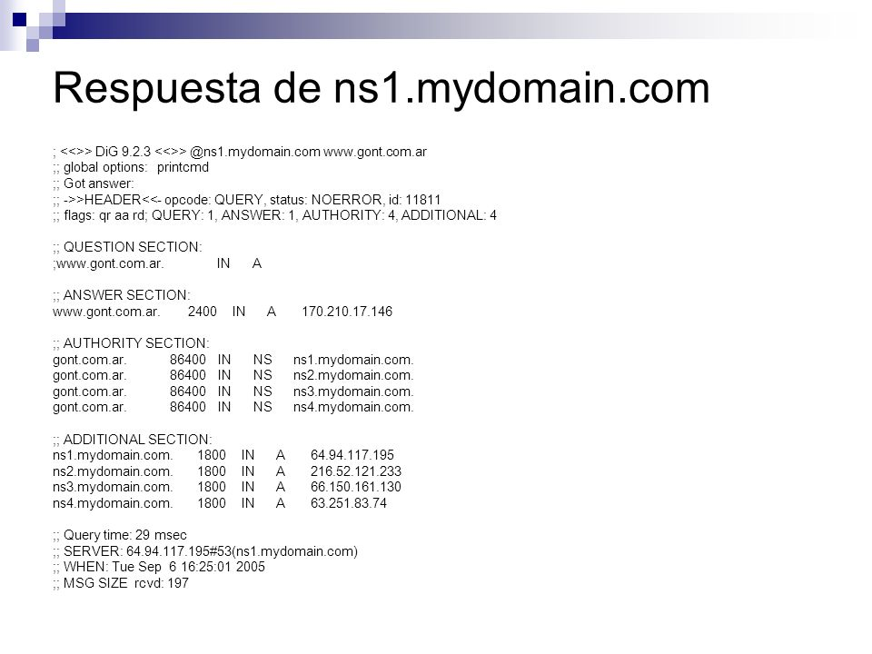 Respuesta de ns1.mydomain.com