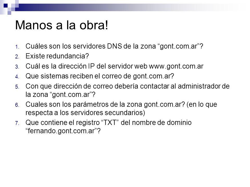 Manos a la obra! Cuáles son los servidores DNS de la zona gont.com.ar Existe redundancia