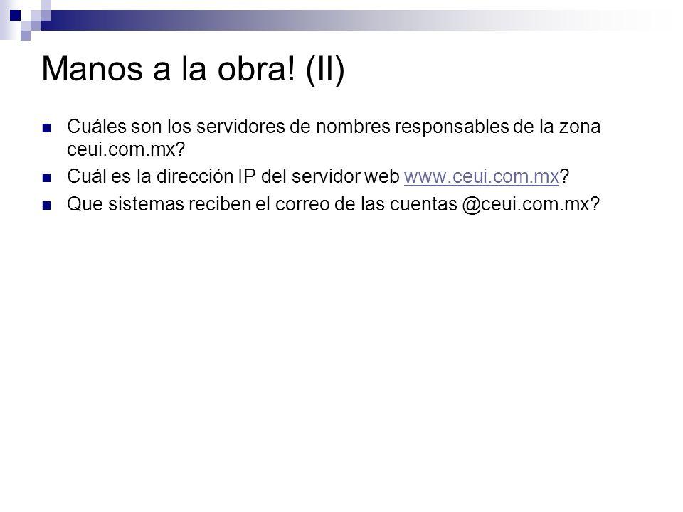 Manos a la obra! (II) Cuáles son los servidores de nombres responsables de la zona ceui.com.mx