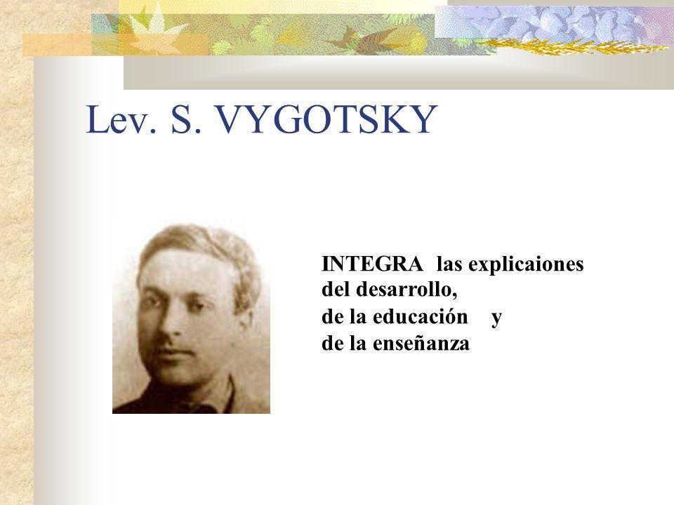 Lev. S. VYGOTSKY INTEGRA las explicaiones del desarrollo,