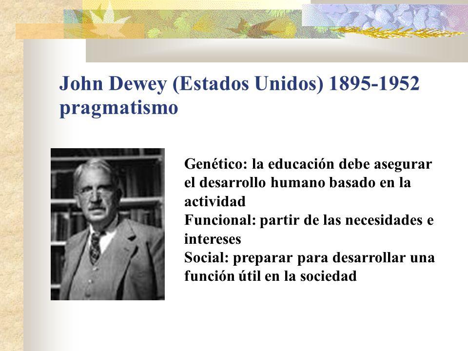 John Dewey (Estados Unidos) 1895-1952 pragmatismo