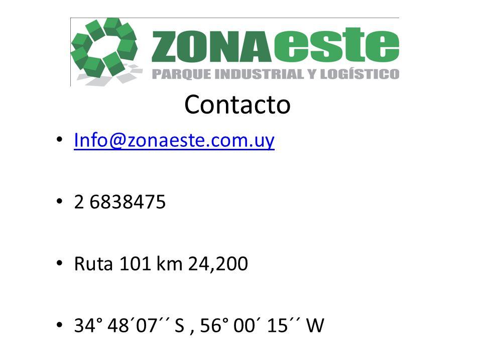 Contacto Info@zonaeste.com.uy 2 6838475 Ruta 101 km 24,200