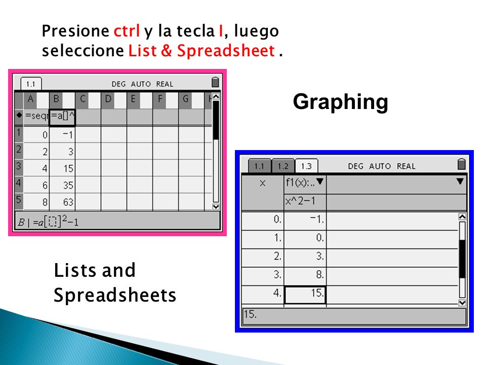 Graphing Lists and Spreadsheets