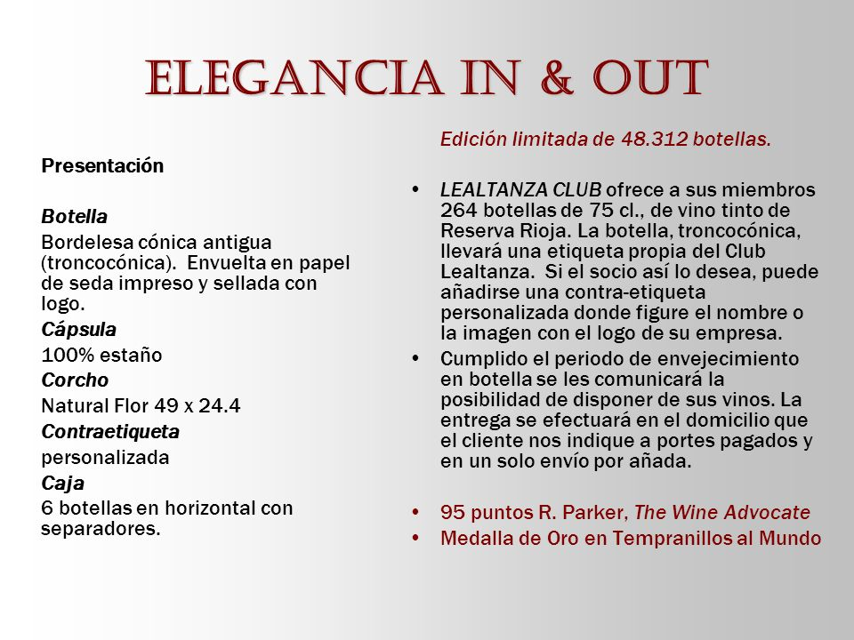 Elegancia in & out Edición limitada de 48.312 botellas.