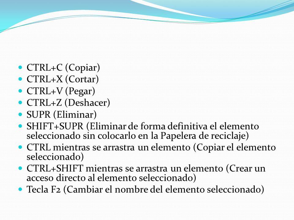CTRL+C (Copiar) CTRL+X (Cortar) CTRL+V (Pegar) CTRL+Z (Deshacer) SUPR (Eliminar)