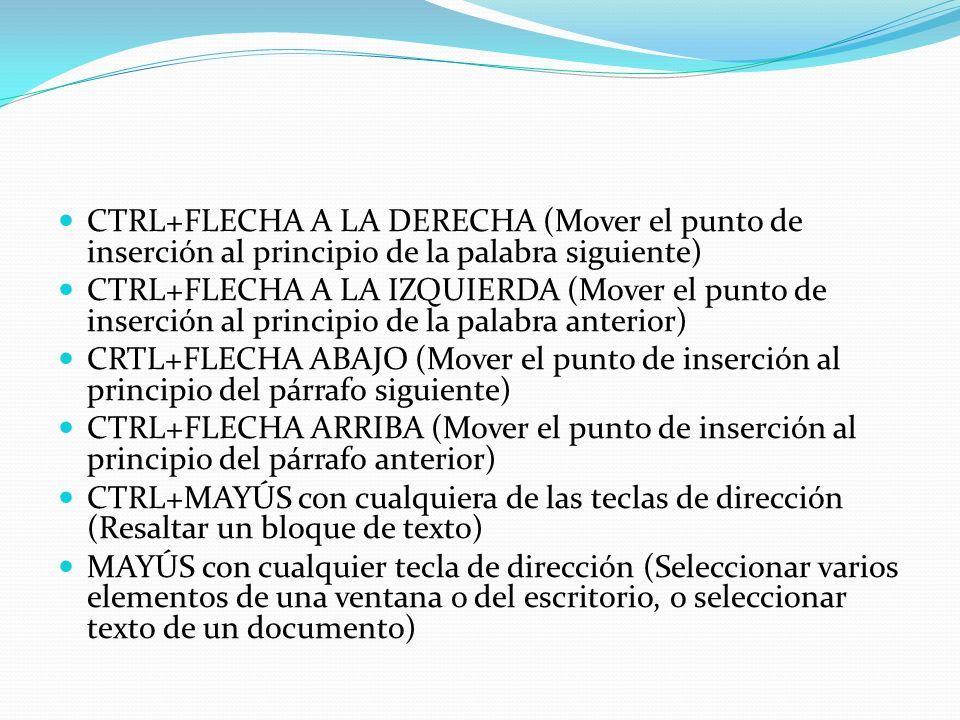 CTRL+FLECHA A LA DERECHA (Mover el punto de inserción al principio de la palabra siguiente)