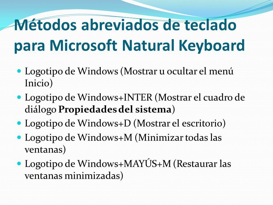 Métodos abreviados de teclado para Microsoft Natural Keyboard