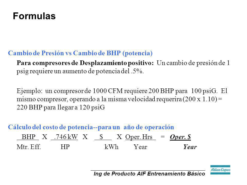 Formulas Cambio de Presión vs Cambio de BHP (potencia)