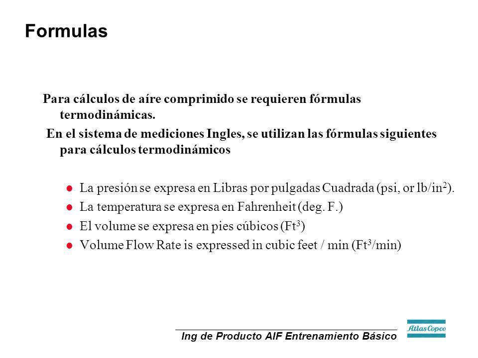 Formulas Para cálculos de aíre comprimido se requieren fórmulas termodinámicas.