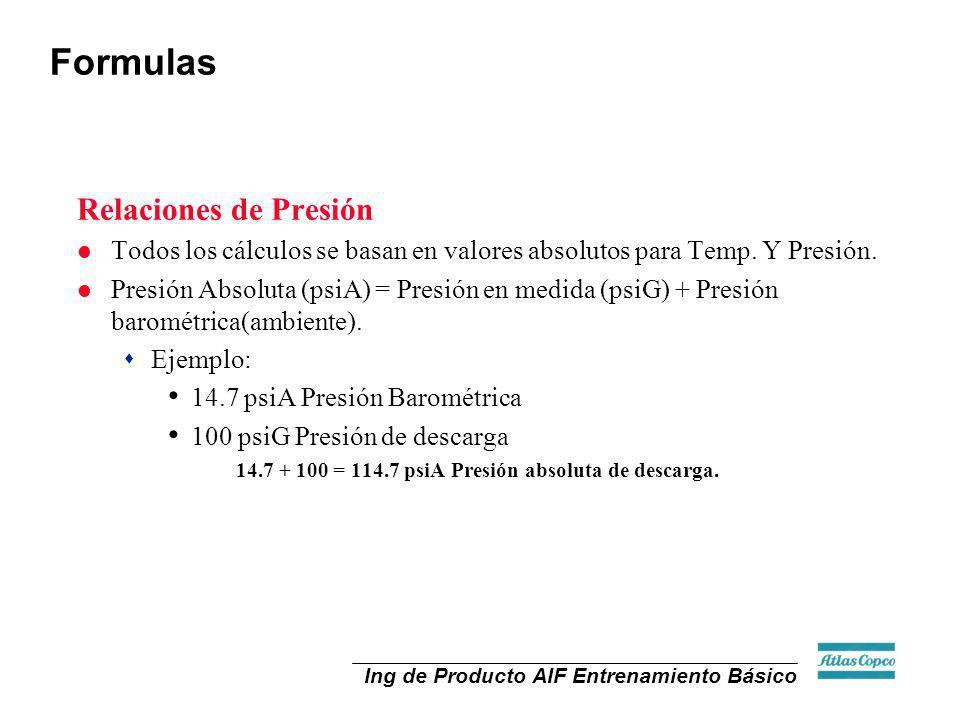 Formulas Relaciones de Presión