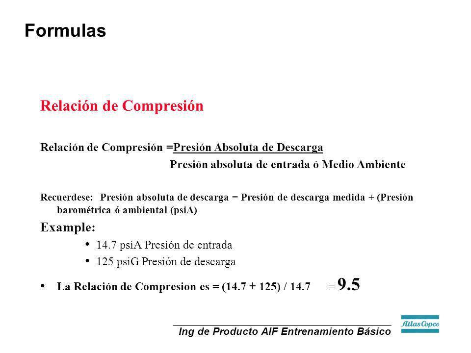 Formulas Relación de Compresión Example: