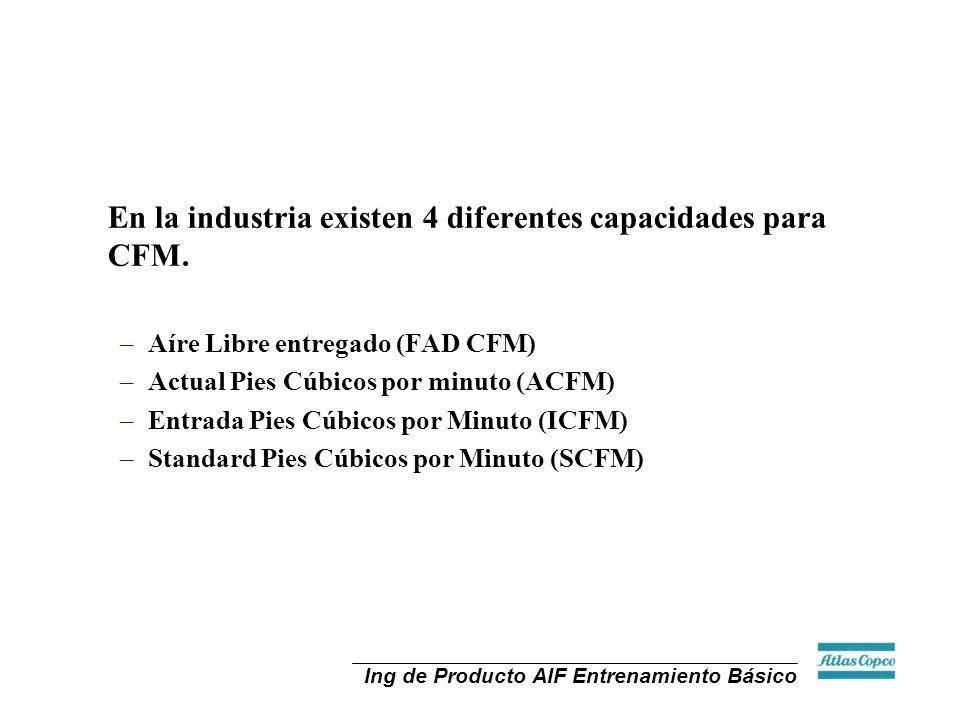 En la industria existen 4 diferentes capacidades para CFM.