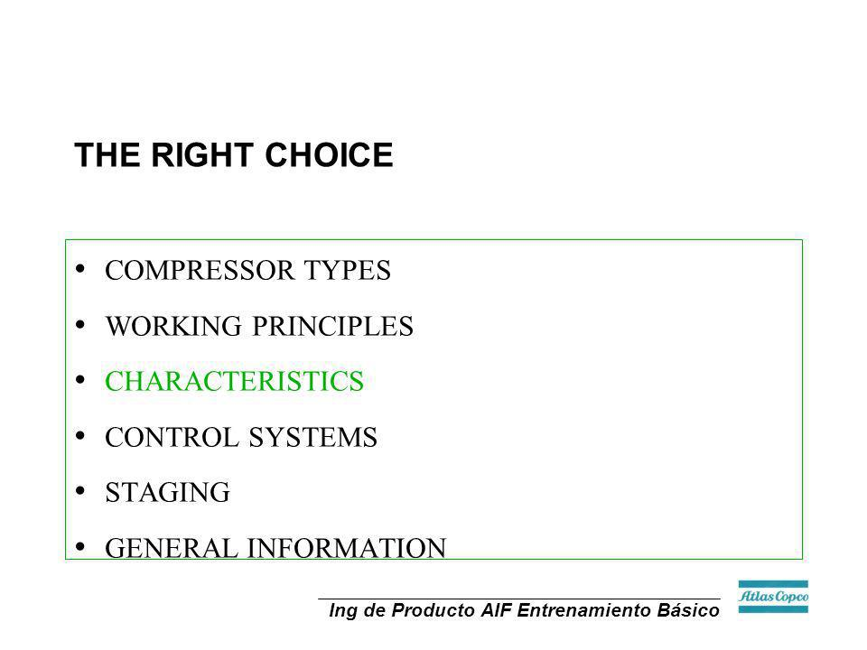 THE RIGHT CHOICE COMPRESSOR TYPES WORKING PRINCIPLES CHARACTERISTICS