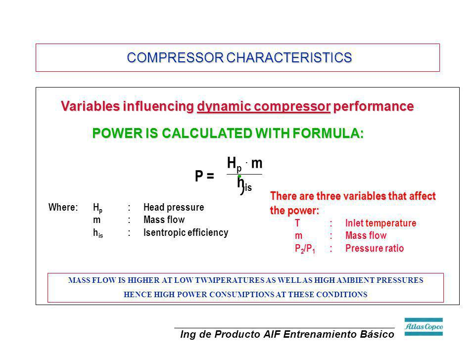Hp . m his P = COMPRESSOR CHARACTERISTICS