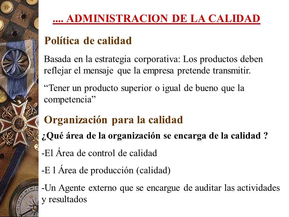 .... ADMINISTRACION DE LA CALIDAD