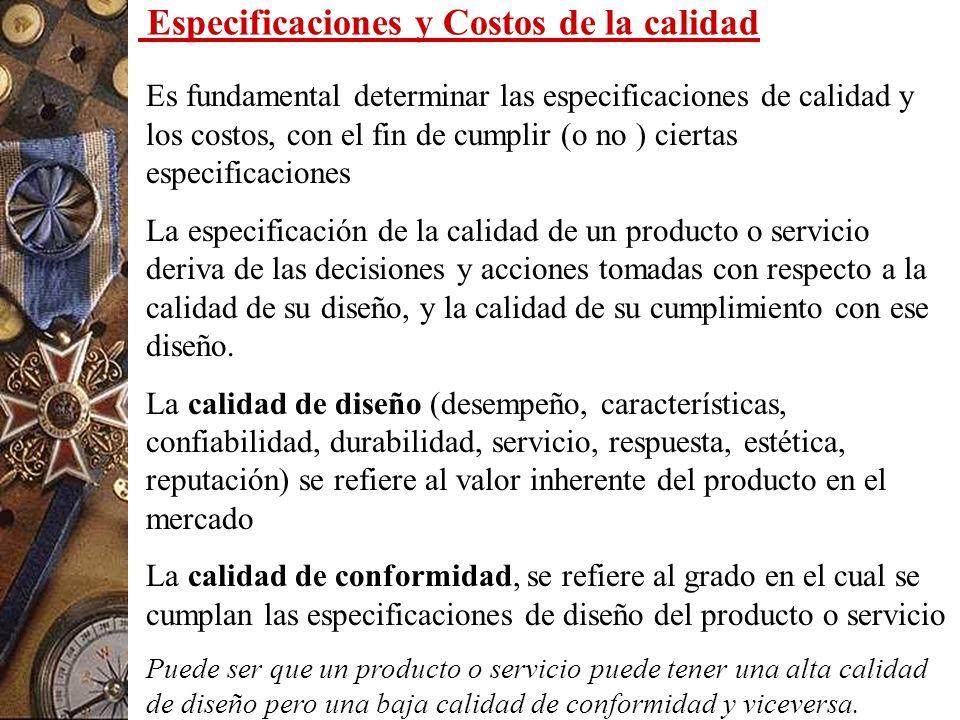 Especificaciones y Costos de la calidad