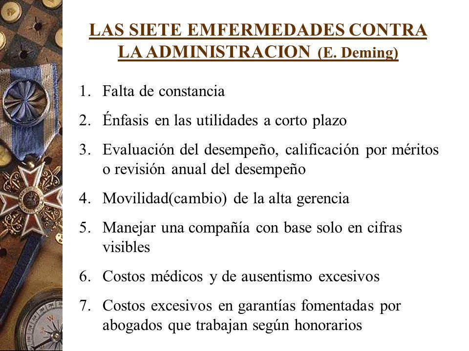 LAS SIETE EMFERMEDADES CONTRA LA ADMINISTRACION (E. Deming)