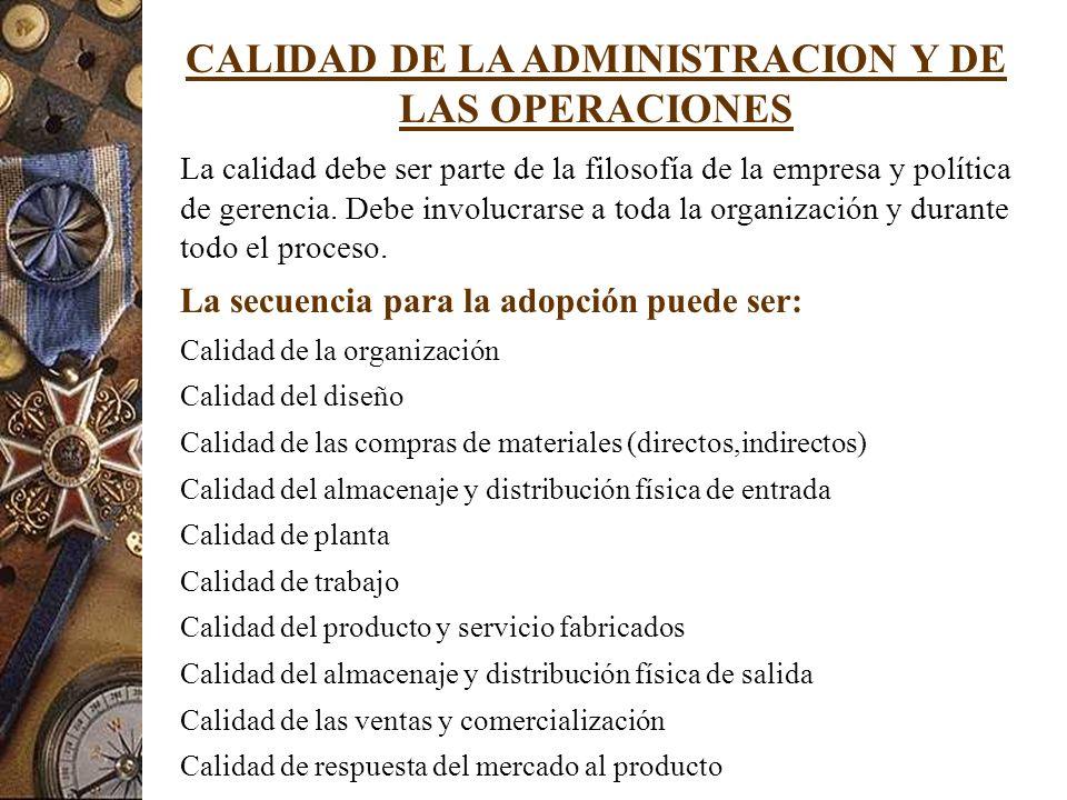 CALIDAD DE LA ADMINISTRACION Y DE LAS OPERACIONES