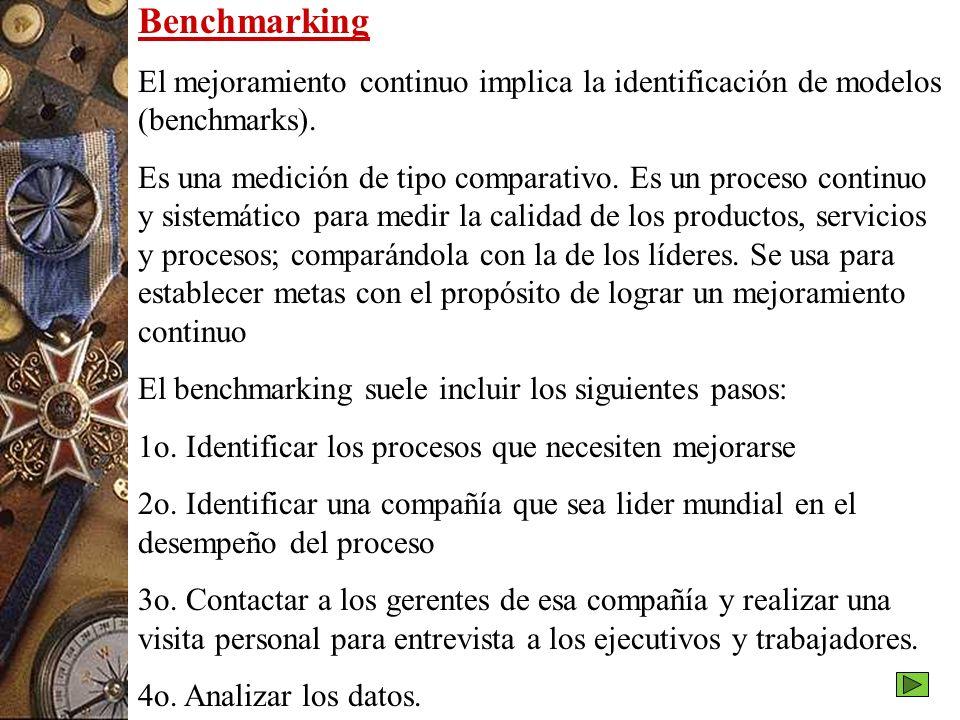Benchmarking El mejoramiento continuo implica la identificación de modelos (benchmarks).