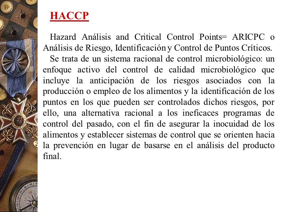 HACCP Hazard Análisis and Critical Control Points= ARICPC o Análisis de Riesgo, Identificación y Control de Puntos Críticos.