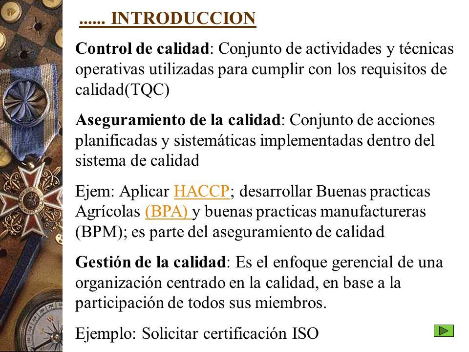 ...... INTRODUCCION Control de calidad: Conjunto de actividades y técnicas operativas utilizadas para cumplir con los requisitos de calidad(TQC)