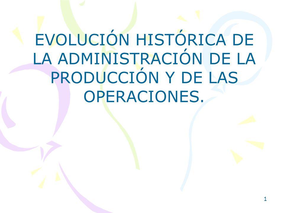 EVOLUCIÓN HISTÓRICA DE LA ADMINISTRACIÓN DE LA PRODUCCIÓN Y DE LAS OPERACIONES.