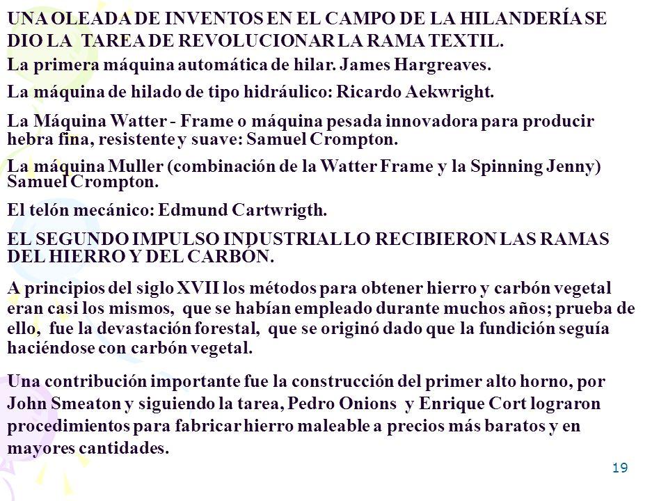 UNA OLEADA DE INVENTOS EN EL CAMPO DE LA HILANDERÍA SE DIO LA TAREA DE REVOLUCIONAR LA RAMA TEXTIL.