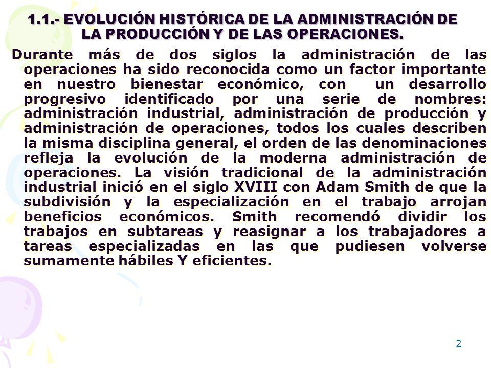1.1.- EVOLUCIÓN HISTÓRICA DE LA ADMINISTRACIÓN DE LA PRODUCCIÓN Y DE LAS OPERACIONES.