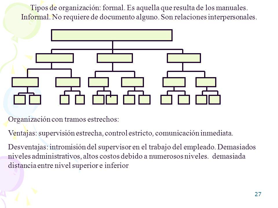Tipos de organización: formal. Es aquella que resulta de los manuales.