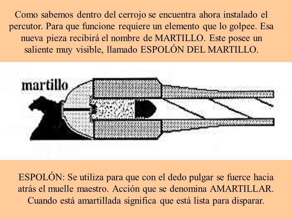 Como sabemos dentro del cerrojo se encuentra ahora instalado el percutor. Para que funcione requiere un elemento que lo golpee. Esa nueva pieza recibirá el nombre de MARTILLO. Este posee un saliente muy visible, llamado ESPOLÓN DEL MARTILLO.