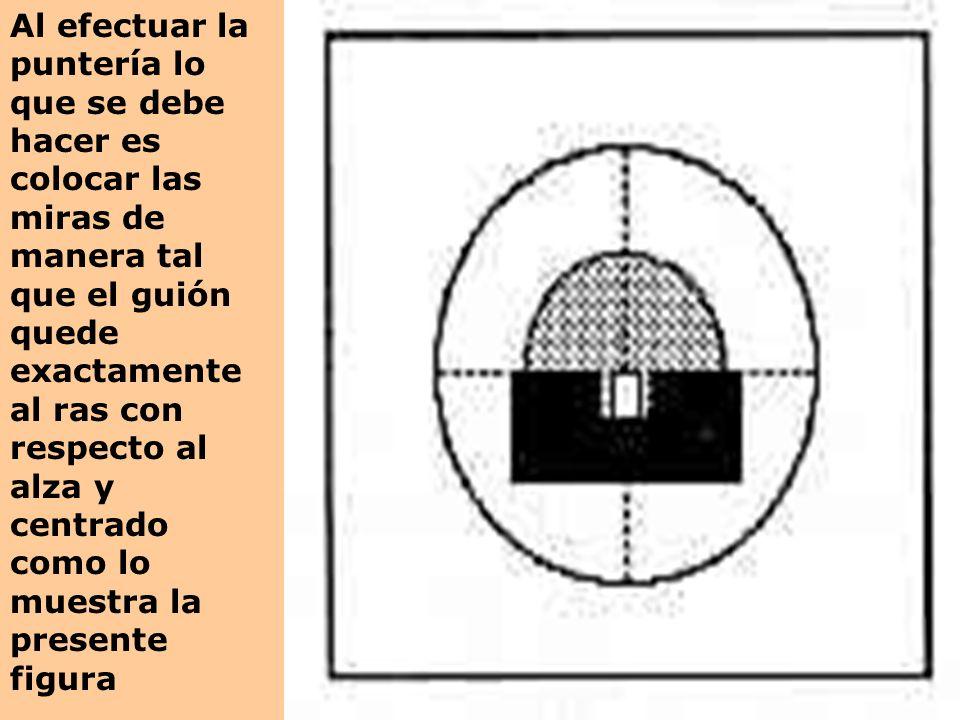 Al efectuar la puntería lo que se debe hacer es colocar las miras de manera tal que el guión quede exactamente al ras con respecto al alza y centrado como lo muestra la presente figura