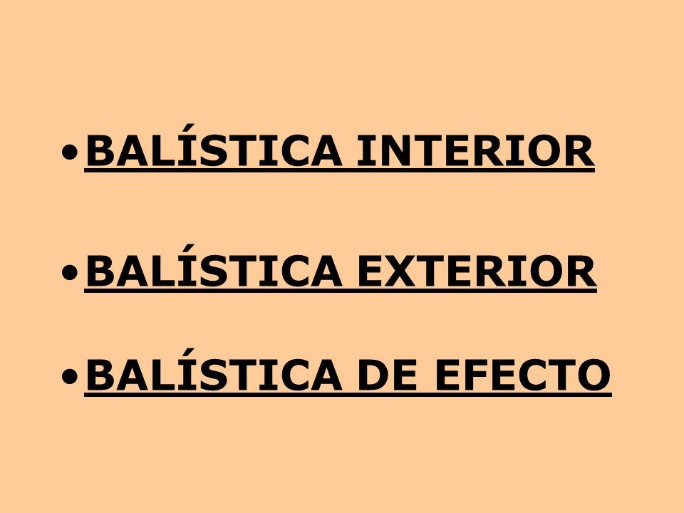 BALÍSTICA INTERIOR BALÍSTICA EXTERIOR BALÍSTICA DE EFECTO