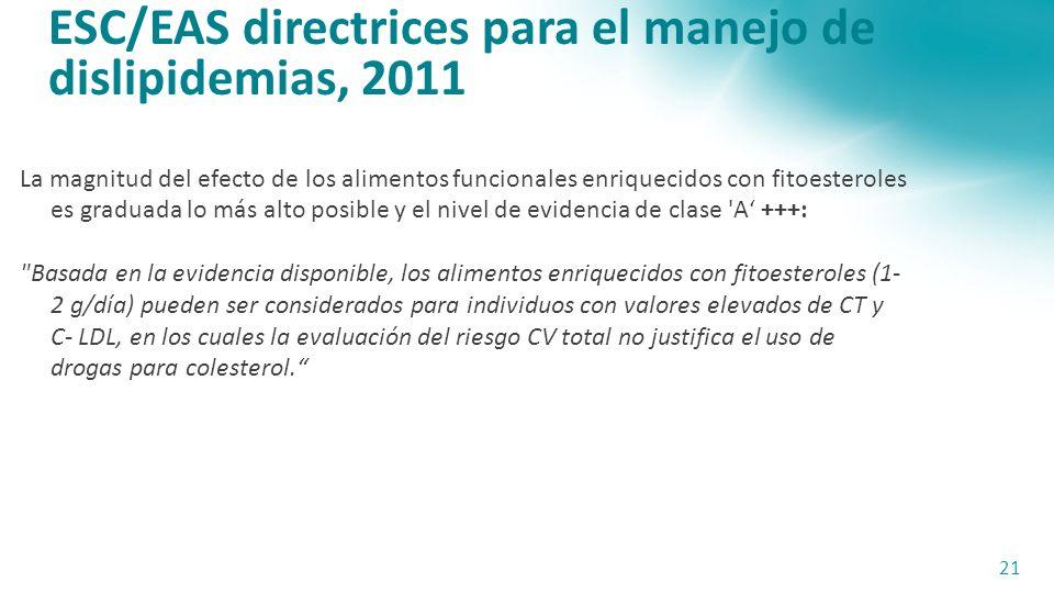 ESC/EAS directrices para el manejo de dislipidemias, 2011