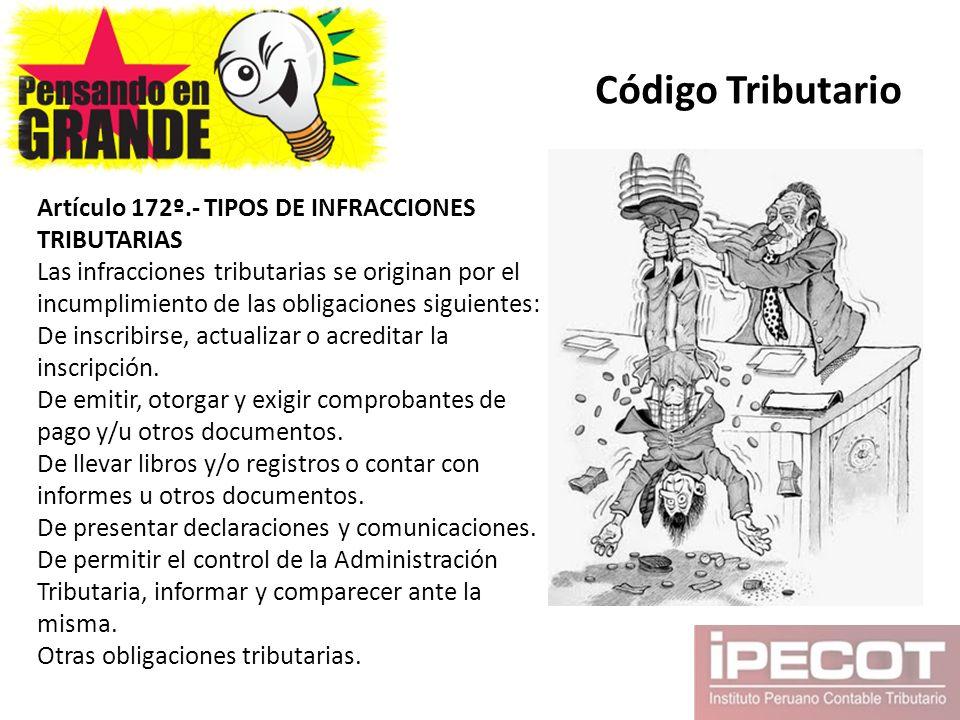 Código Tributario Artículo 172º.- TIPOS DE INFRACCIONES TRIBUTARIAS