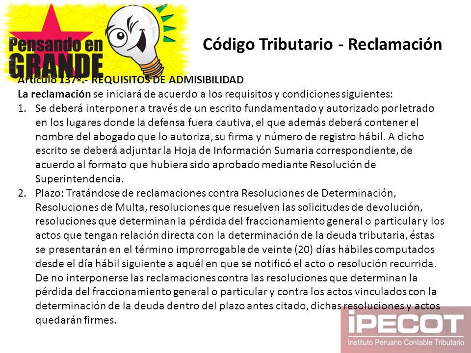 Código Tributario - Reclamación