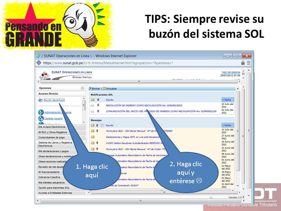 TIPS: Siempre revise su buzón del sistema SOL