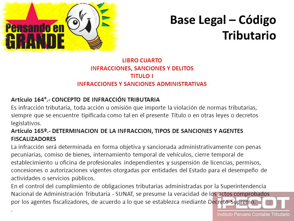 Base Legal – Código Tributario