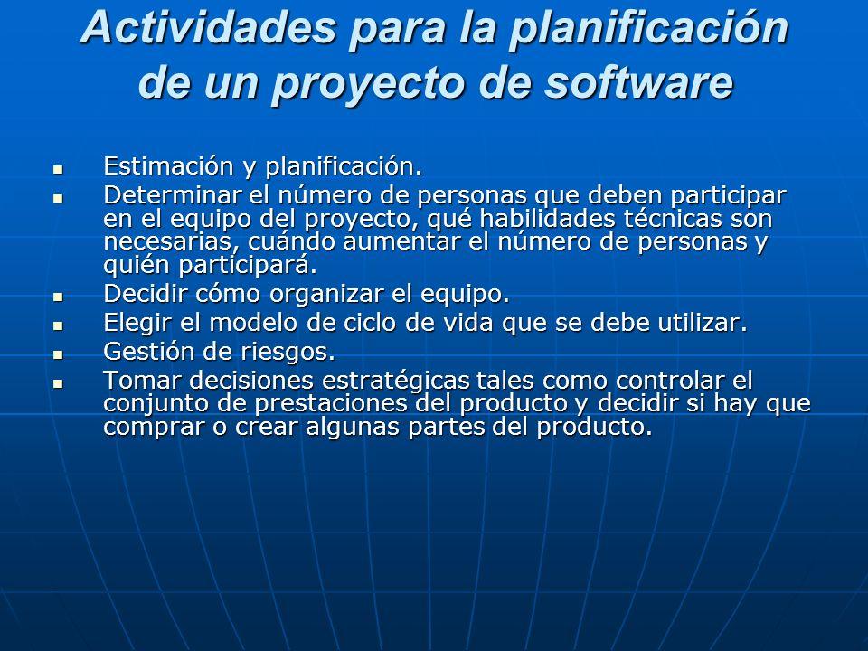 Actividades para la planificación de un proyecto de software