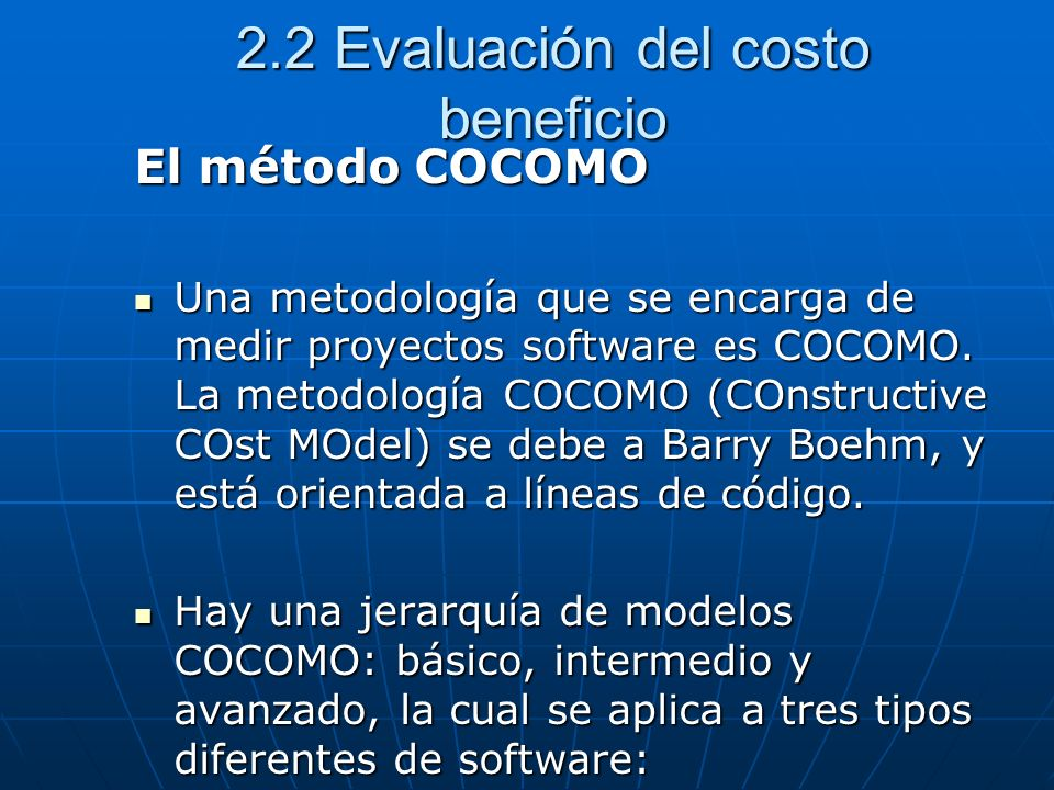 2.2 Evaluación del costo beneficio