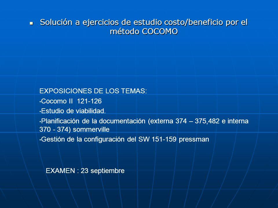 Solución a ejercicios de estudio costo/beneficio por el método COCOMO