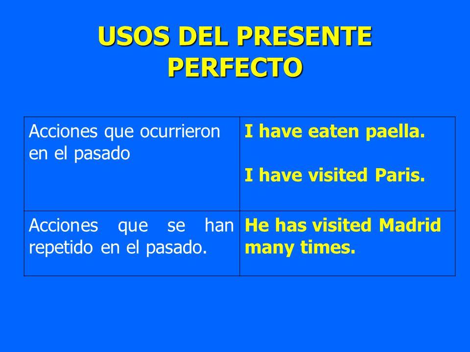 USOS DEL PRESENTE PERFECTO