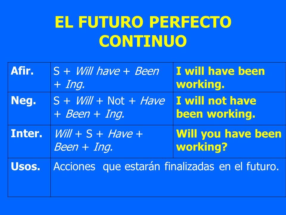 EL FUTURO PERFECTO CONTINUO