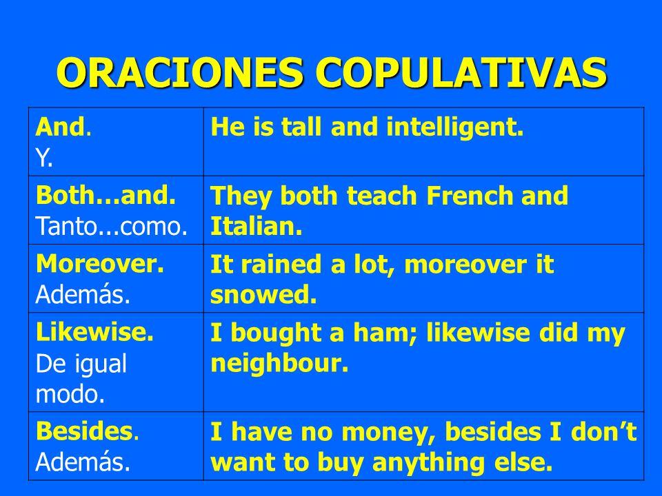 ORACIONES COPULATIVAS