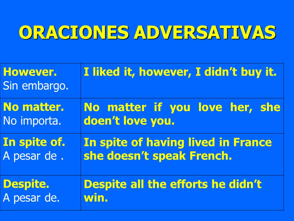 ORACIONES ADVERSATIVAS