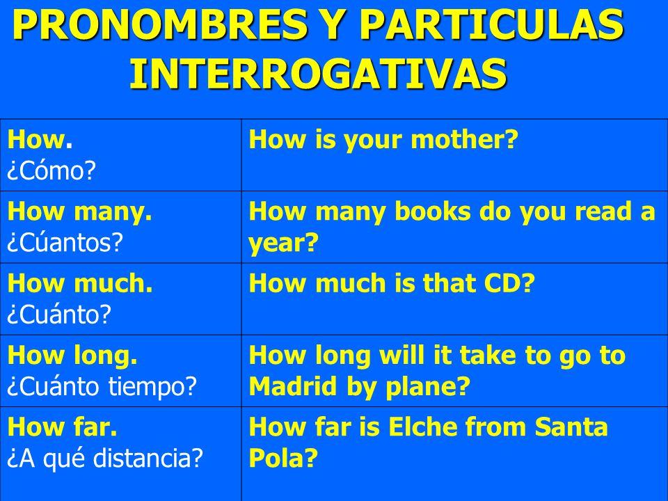 PRONOMBRES Y PARTICULAS INTERROGATIVAS